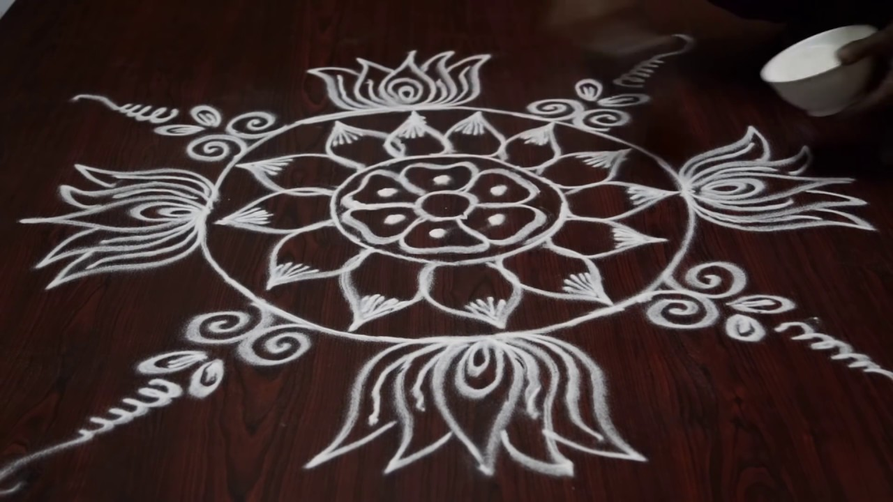 Lotus Flower Rangoli Designs Lotus Kolam Rangoli Rangoli