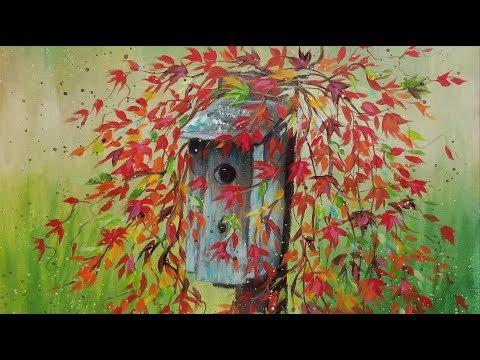 Autumn Leaves on Birdhouse Beginner LIVE Acrylic Painting Tutorial