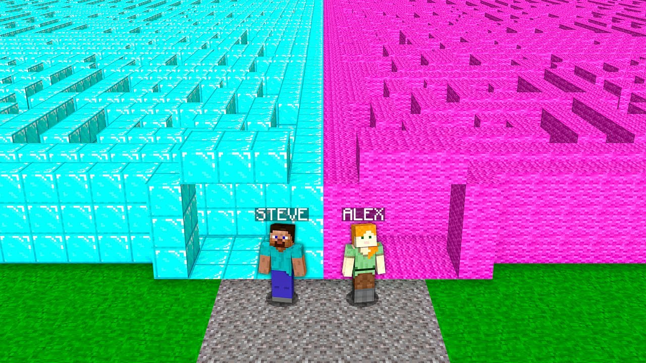 SECRET MAZE CHALLENGE! STEVE VS ALEX! Minecraft NOOB vs PRO! 100% TROLLING IN VILLAGE ENTRANCE