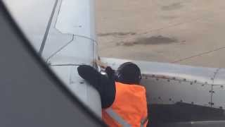 LAN mechanic applying speed tape on an Airbus A320