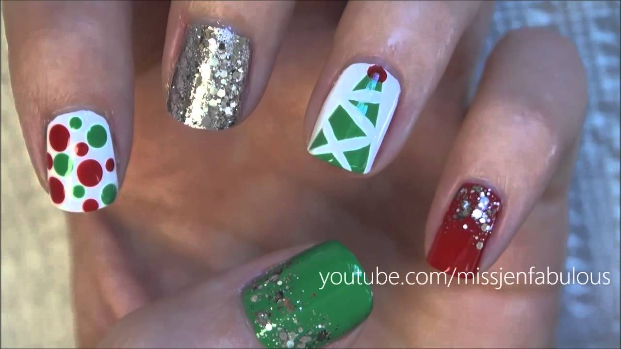 Three cute easy christmas tree nail tutorials youtube prinsesfo Choice Image