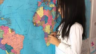 Калкабек Айым. 5 лет, а знает название 50 стран мира.