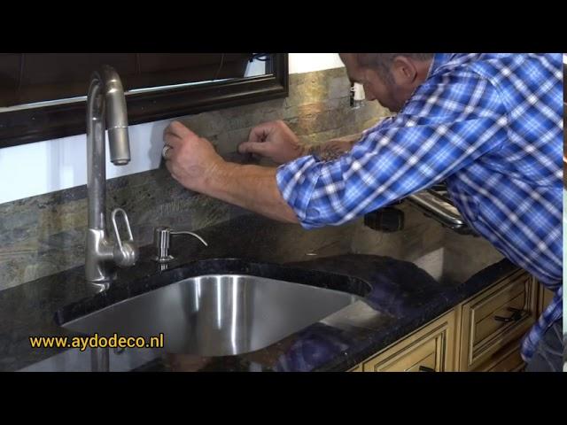 Zelfklevend Natuursteen Steenstrips Doe Het Zelf Brickstone 3d Wandpanelen Natuursteen Tegels Youtube