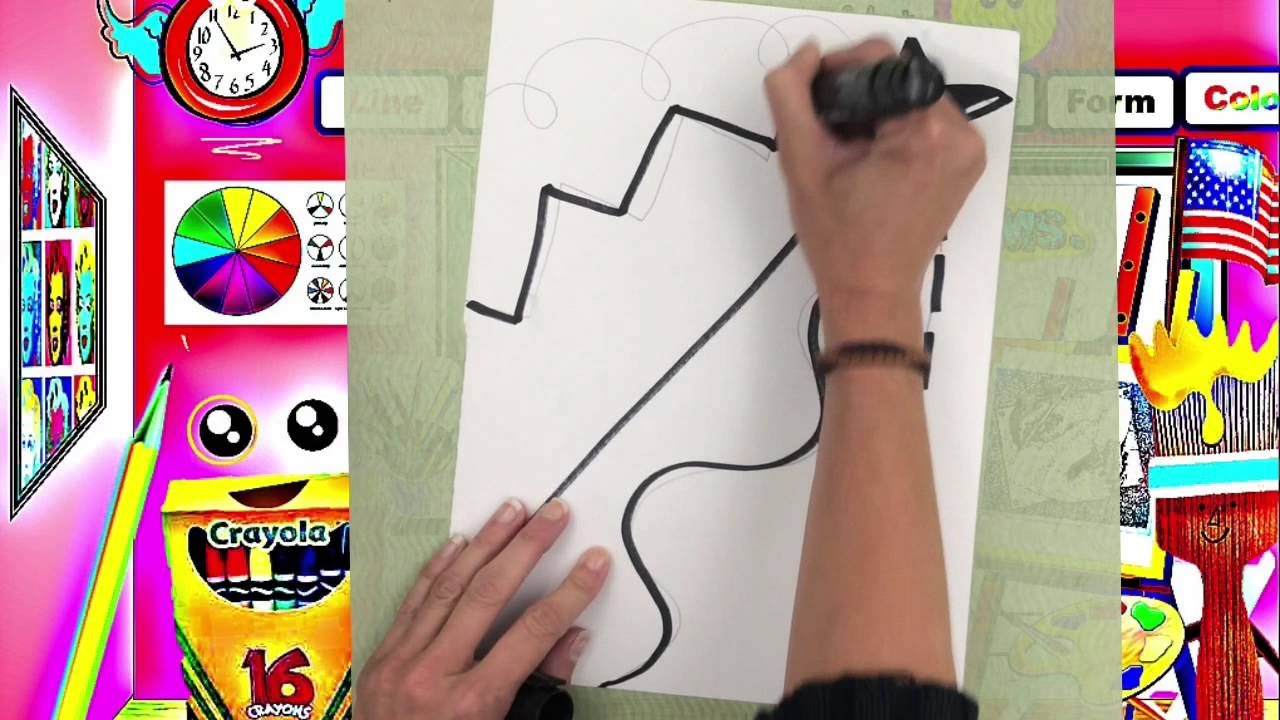First Grade Art Lesson Moving line design - YouTube [ 720 x 1280 Pixel ]