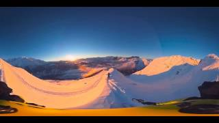 off piste skiing at sunset in the heart of Mont Blanc
