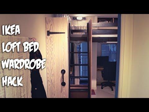 Ikea Hack Loft Bed with Wardrobe Cabinet chalk paint finish