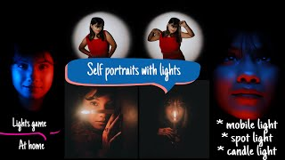 Self portraits with cheap lights setup at home with mobile
