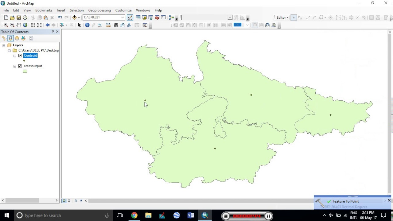ESRI ArcGIS Creating Polygon Centroid