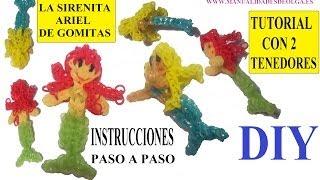 Repeat youtube video COMO HACER A LA SIRENITA ARIEL DE GOMITAS (LIGAS) CHARMS CON DOS TENEDORES. TUTORIAL DIY