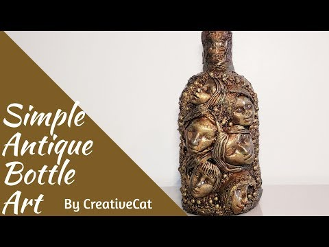 Antique Bottle Art/Women Theme Bottle Art/Altered Bottle/Bottle Art with Face By CreativeCat