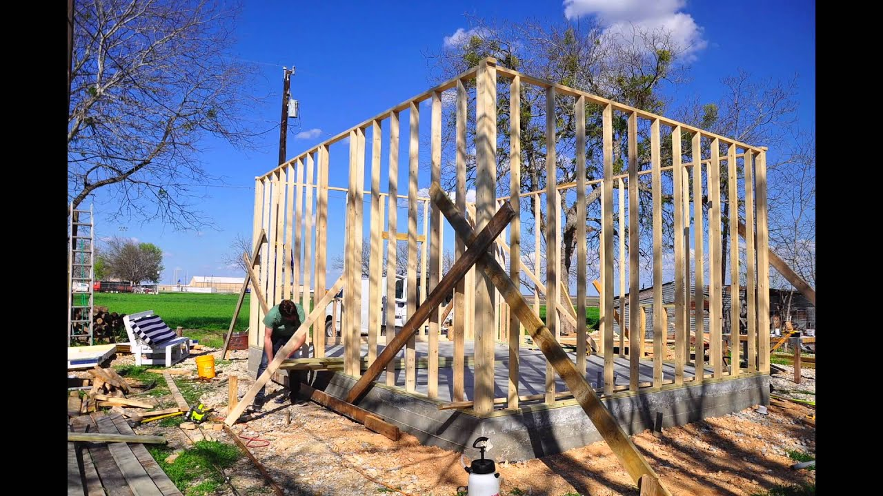 small house tiny house construction framing a wall timelapse - Tiny House Framing
