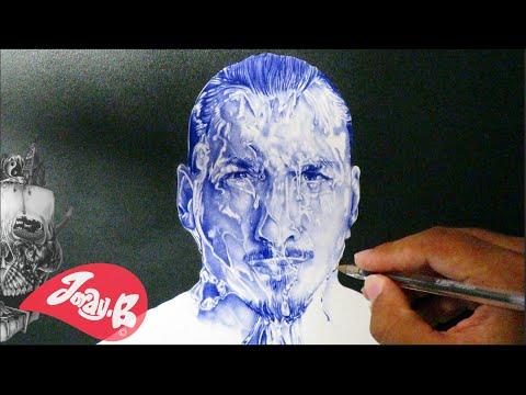 Zlatan Ibrahimovic Pen Drawing - coming out of Water