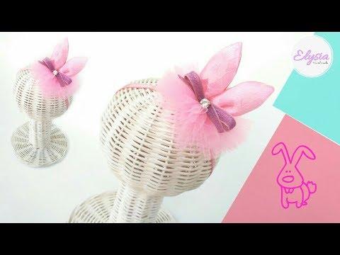Bunny Ears Crown Headband Use Ribbon And Tulle | DIY by Elysia Handmade