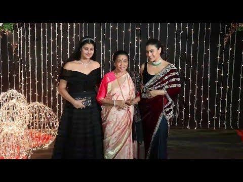 Kajol with Asha Bhosle At A Priyanka Chopra & Nick Jonas Wedding Reception Mumbai