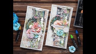 step-by step tutorial St.Tropez mixed-meida cards/ Мастер класс