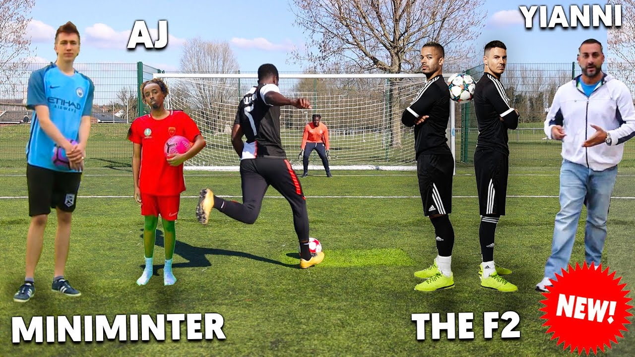FAMOUS YouTubers Challenge Me To a Football Competition ft. Miniminter, F2 & Yiannimize