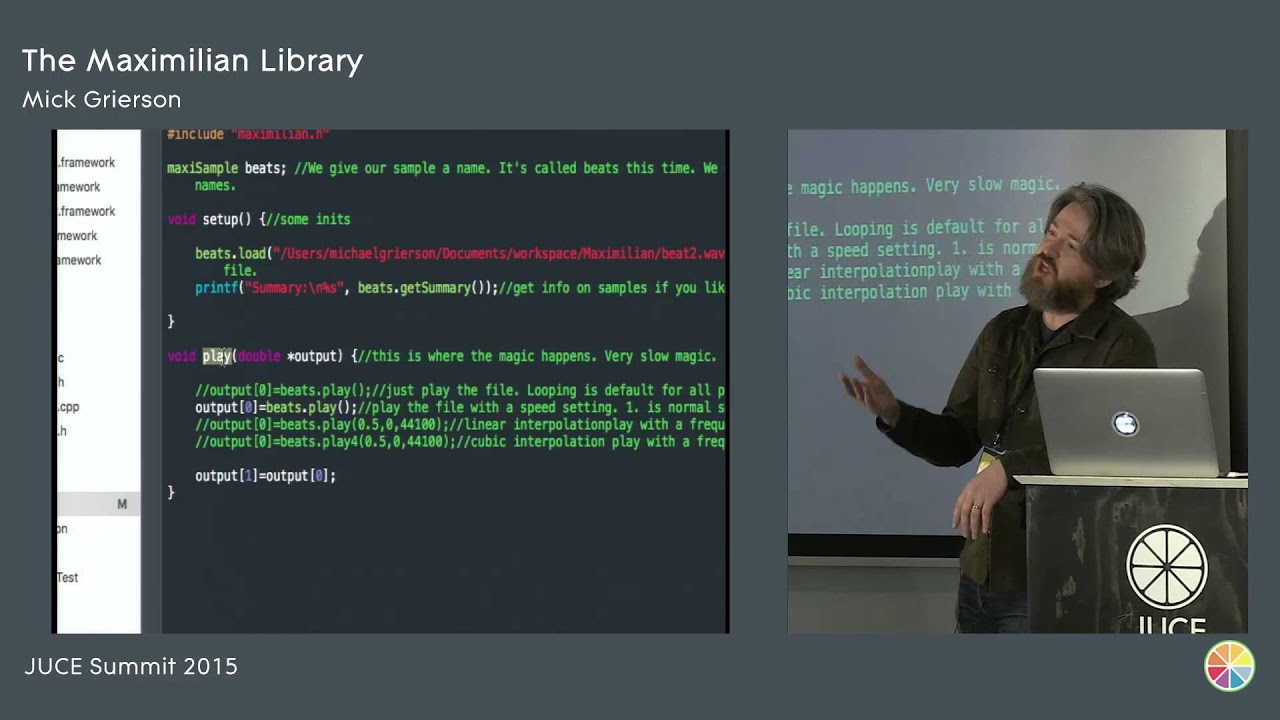 Maximilian: C++ Audio and Music DSP Library, Mick Grierson, JUCE Summit 2015