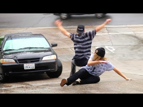 HIT BY A CAR!! Most Dangerous Road In U.S. World Record Foot Slide