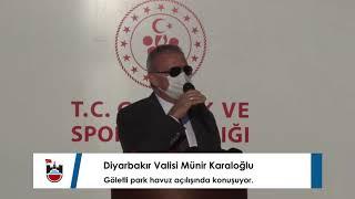 Diyarbakır Valisi Münir Karaloğlu, göletli park havuz açılışında konuşuyor.