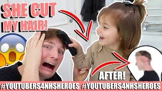 I LET MY 2 YEAR OLD DAUGHTER GIVE ME A HAIRCUT! *INSTANTLY REGRET* #Youtubers4NHSHeroes