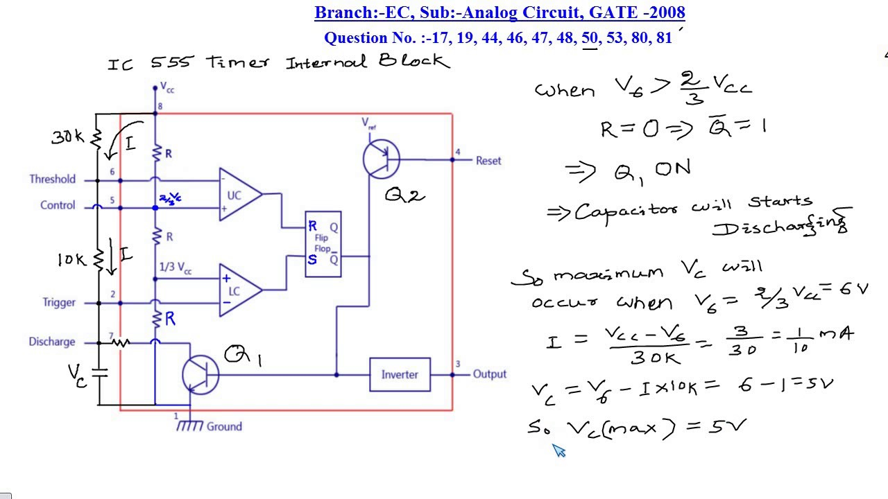 Ec Analog Circuit Gate 2008 Q No 47 To 81 Youtube Ic555internaldiagram