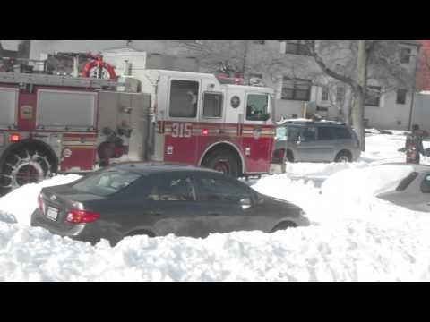FDNY Firefighters Trying To Get Through Unplowed NYC Street (Winter Storm Jonas)