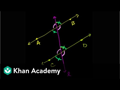 Angles formed by parallel lines and transversals | Geometry | Khan Academy