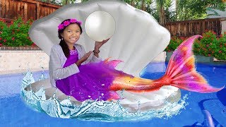 Wendy Pretend Play as Princess Ariel Mermaid Swimming Kids Birthday Pool Party