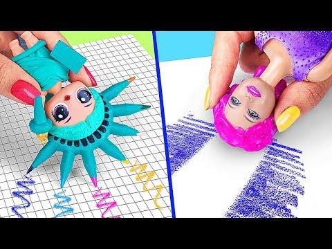 9 Formas Extraas De Escabullir Barbies A Clase / Locos Trucos Para Tu Barbie y Mueca LOL Surprise