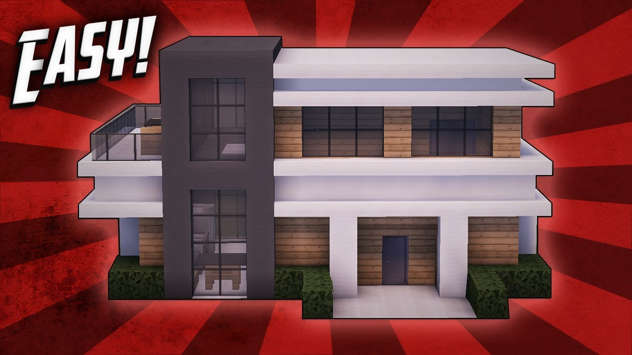 Minecraft how to build a small modern house tutorial 18 for How to build a modern house