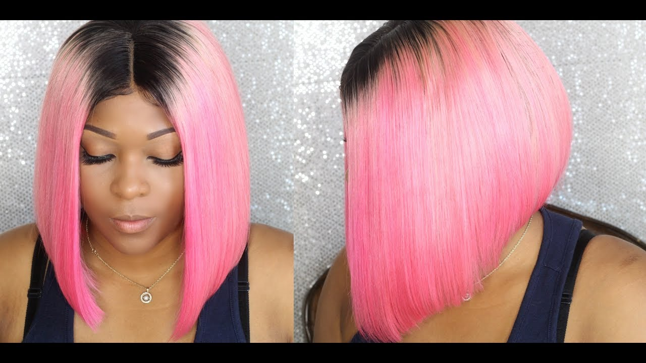 Slaying My Pink Middle Part Bob Lace Frontal Wig Install No