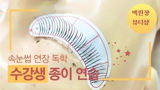 속눈썹 연장 독학 실제 샵 수강생이 하는 종이 연습 배…
