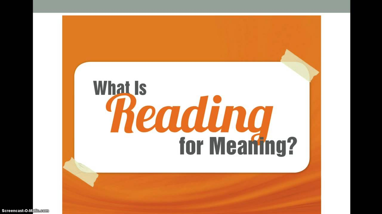 Reading for Meaning - YouTube