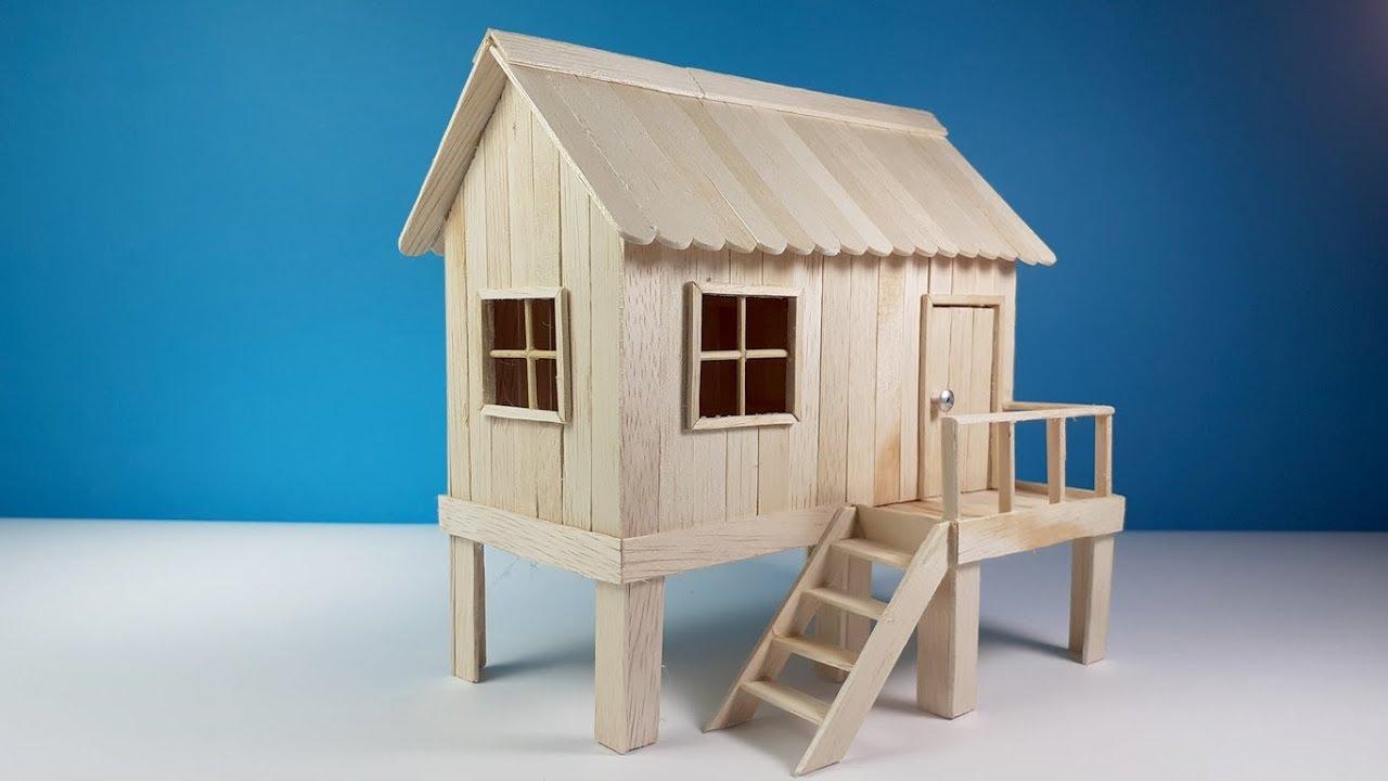 Wow Dari Stik Es Krim Jadi Miniatur Rumah Panggung Kerajinan Tangan Dari Stik Es Krim Youtube