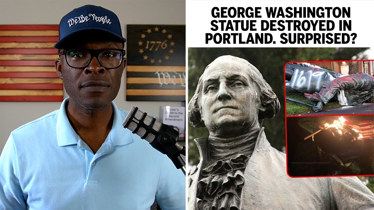 George Washington Statue TOPPLED, BURNED in Portland!