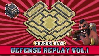 Clash of Clans || Th9 War/Trophy Base (KHUKURI) Defense Replay Vol.1