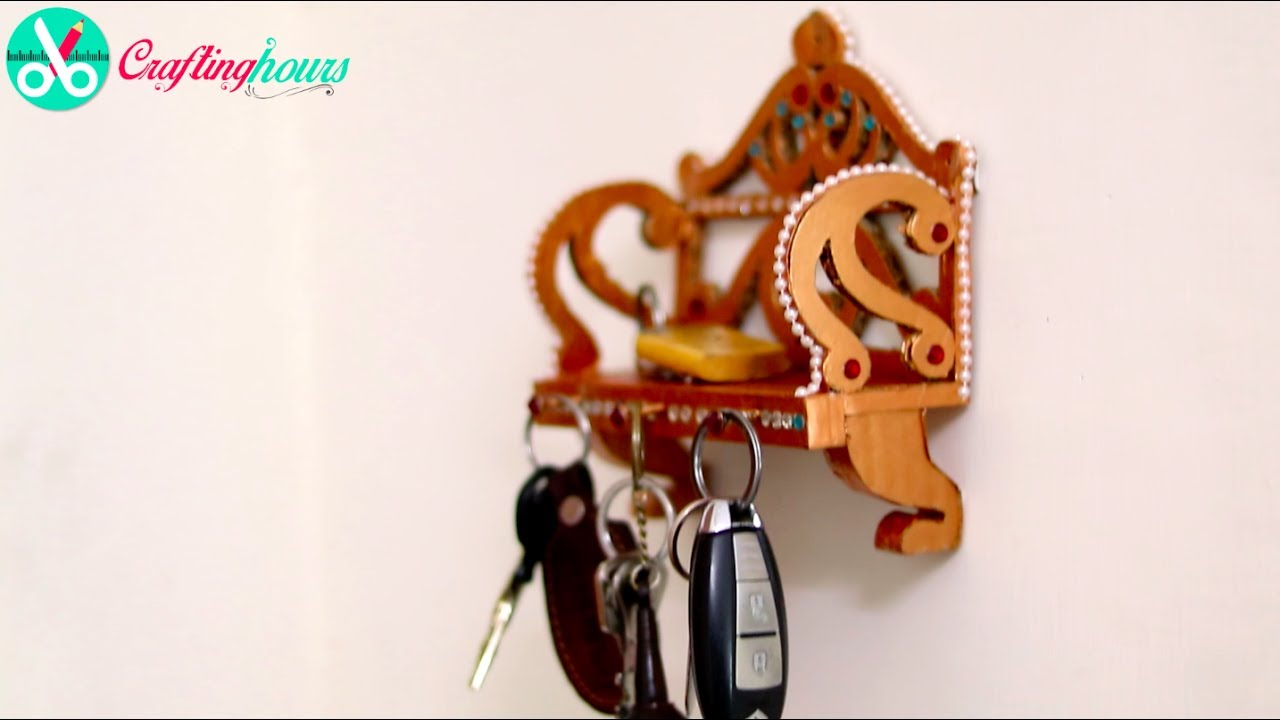 How To Make A Royal Style Key Holder, Key Hanger With Cardboard, DIY Home  Decor