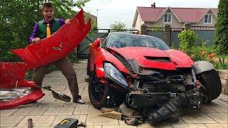 Mr. Joe repaired Broken Corvette in Car Service & Started Funny Race on Sport Car for Kids