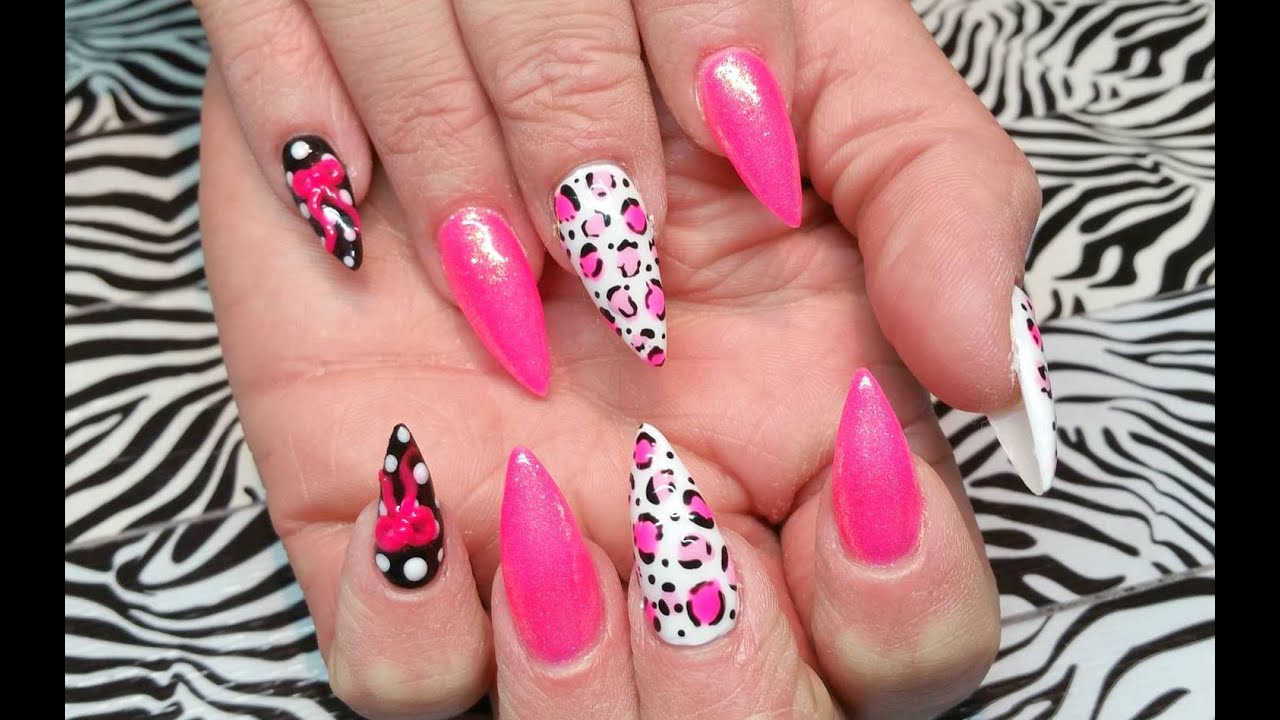 Stiletto Acrylic Set l Pink & Mermaid Pigments l Nail Design - YouTube