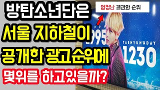 서울지하철이 공개한 아이돌 광고 순위 방탄소년단은?