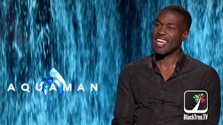 AQUAMAN Interview Hugh Jackman Gave Yahya Abdul-Mateen II Advice on Playing Black Manta