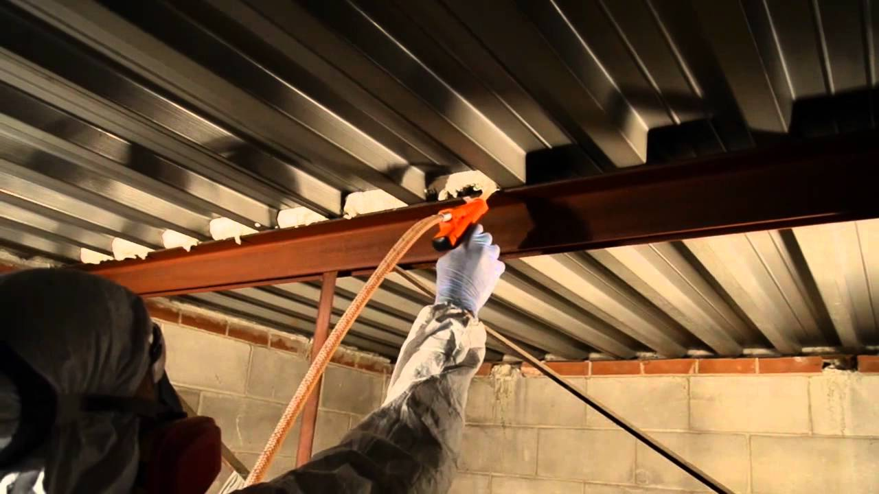 Metal Roof Overhead Spray Application With Tiger Foam   YouTube