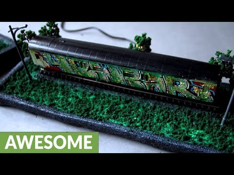 DIY graffiti diorama: Miniature hand-painted model train