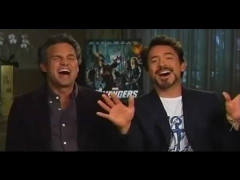 """Mark Ruffalo and Robert Downey Jr. singing part of """"Hooked On A Feeling"""""""