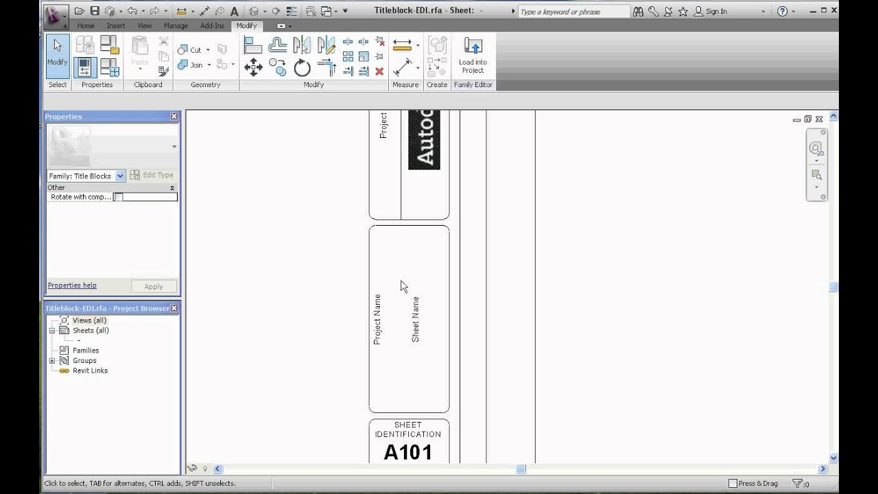 Revit Architecture, Titleblocks Part 3, Modifying Text and Labels with Sizes