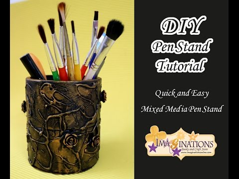 Mixed Media Pen Stand Tutorial - Best out of Waste tutorial