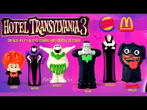2018 HOTEL TRANSYLVANIA 3 BURGER KING JR KIDS MEAL TOYS V McDONALDS HAPPY MEAL TOYS FULL SET PREVIEW