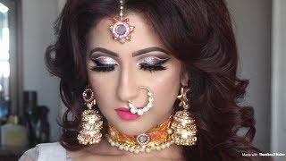 Indian Reception Bridal Makeup Transformation | Double Cut Crease | Asian Bridal