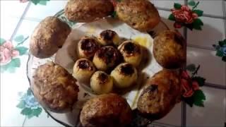 Фаршированный лук и картофель.