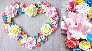 【折り紙・コピー用紙】簡単!かわいい花 ハッピーカラーのリース Easy Cute flower.у